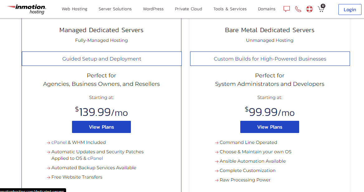 inmotion dedicated hosting server plans