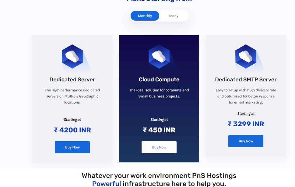 pnshostings dedicated hosting server plans